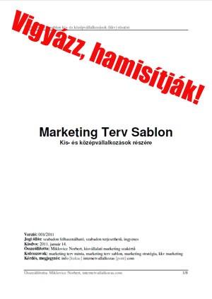 Ingyen letölhető marketing terv sablon